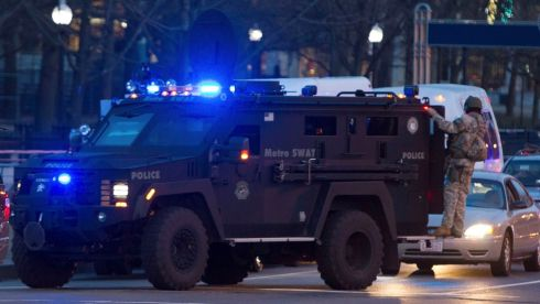 A Metro Swat armoured vehicle arrives at the Boston Common near the blast site. Photograph: Scott Eisen/Reuters
