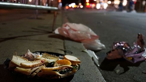 Uneaten food sits near the scene of the twin bombing at the Boston Marathon. Three people have been confirmed dead and at least 141 injured after the explosions went off near the finish line. The bombings at the 116-year-old Boston race resulted in heightened security across the US. Photograph: Spencer Platt/Getty Images