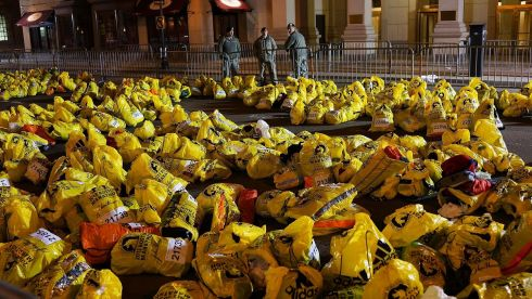 Unclaimed finish line bags after the blasts. Photograph: Spencer Platt/Getty Images