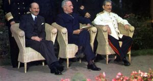 From left, Clement Attlee, Harry Truman and Joseph Stalin at the Potsdam Conference in July 1945