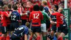 Alan Quinlan's confrontation with Leo Cullen in the 2009 Heineken Cup semi-final resulted in a citing which cost him his place on the Lions tour that summer. Photograph: Getty Images