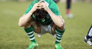 Limerick's Seamus Hickey is dejected after losing this year's Division 1B final to Dublin.  Photograph: Donall Farmer/Inpho
