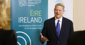 "Al Gore told his Dublin audience of more than 350 delegates from 60 countries: ""Even with glaring evidence [of extreme weather patterns] people still do not connect the dots of climate change. We have to win the conversation about climate change. When you hear denial, speak up."""