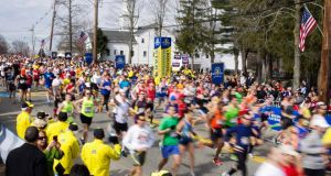 The first wave of runners starts the 117th running of the Boston Marathon on Monay. Photograph: Dominick/ Reuters