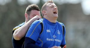 Fergus McFadden (left) and Jamie Heaslip joke around during Leinster training. Photograph: Donall Farmer/Inpho