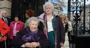 Members of the Survivors of Symphysiotomy group  Ellen O' Brien and Rita McCann at Leinster House before a briefing for Oireachtas members and staff on the issue of symphysiotomy.  Photograph: Clodagh Kilcoyne