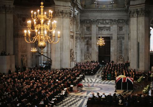 A view from inside St Paul's Cathedral during the funeral. Photograph: Christopher Furlong/Getty Images