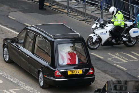 The hearse leaves the ceremonial funeral at St Paul's Cathedral. Dignitaries from around the world today joined Queen Elizabeth II and Prince Philip, Duke of Edinburgh as the United Kingdom paid tribute to former prime minister Margaret Thatcher. Photograph: Oli Scarff/Getty Images
