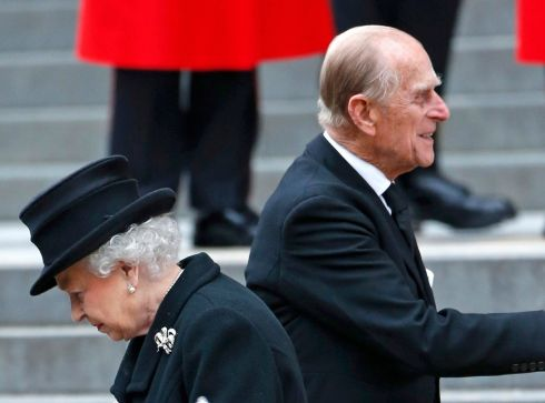 Britain's Queen Elizabeth and Prince Philip leave after the funeral service. Photograph: Suzanne Plunkett/Reuters