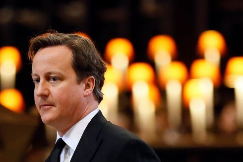 British prime minister David Cameron gives a reading during the funeral service at St Paul's Cathedral. Photograph: Kirsty Wigglesworth/PA Wire