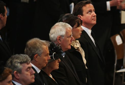 Former prime minister Gordon Brown, former prime minister Tony Blair, Norma Major, former prime minister John Major, Samantha Cameron and prime minister David Cameron attend the funeral service. Photograph Christopher Furlong/PA Wire