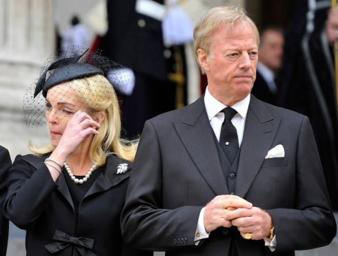 Mark Thatcher, son of Mrs Thatcher, and his wife Sarah leave the funeral service at St Paul's Cathedral. Photograph: Toby Melville/Reuters