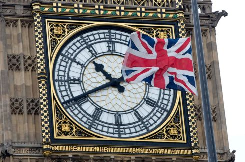 The Union flag flies at half mast on Portcullis House to mark the funeral service. Photograph: Neil Hall/Reuters