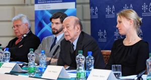 From left, Felipe Gonzalez Marquez and Michelangelo Baracchi Bonvicini of Atomium Culture, with Valery Giscard d'Estaing and Erika Widegren at a European summit on research and innovation in Dublin in Februrary