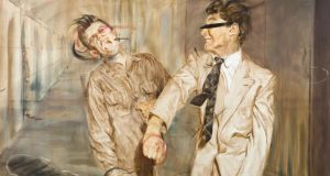 A detail from Fight Scene III – Study for Two Figures by Eoin Llewellyn