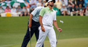 Two late bogeys ended Jason Day's chances of winning The Masters at Augusta. Photograph:  Mike Segar/Reuters