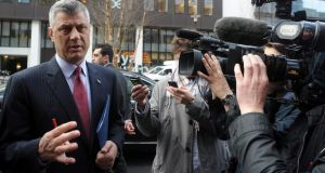 Kosovo's prime minister Hashim Thaci talks to the media as he arrives for a meeting with Serbian prime minister Ivica Dacic and European Union foreign policy chief Catherine Ashton (not pictured) in Brussels yesterday. Photograph: Reuters/Laurent Dubrule