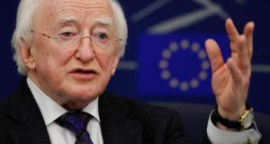 "President Michael D Higgins addresses journalists at the European Parliament in Strasbourg, yesterday. ""The inspiration and the achievements of the founders of the European Union cannot be taken for granted,"" the President said in his speech to the parliament. Photograph: Reuters/Vincent Kessler"