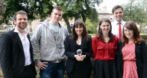 From left: finalists Cathal O'Donhnallain, the Bull; Ronan Burtenshaw, Trinity News, which won the Newspaper of the Year award; Emer Sugrue of the University Observer; Jenny Darmody of the College View;  Jarlath Moloneyof the Edition;  and Aoife Valentine of the University Observer at the National Student Media Awards in Dublin yesterday. Photograph: Eric Luke
