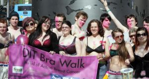 "DIT students  at the Spire in Dublin during a ""Bra Walk"" in aid of Action Breast Cancer last year. Breast cancer is the most common invasive cancer diagnosed in women in Ireland and the second most common cause of cancer death in women.  Photograph: Cyril Byrne/The Irish  Times"