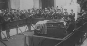 Lying in state: the Tricolour draped over O'Donovan Rossa's coffin in 1915. Photograph courtesy of the National Library of Ireland