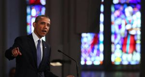 "President Barack Obama speaks st an interfaith prayer service for victims of the Boston Marathon attack titled ""Healing Our City,"" at the Cathedral of the Holy Cross today. Photograph: Spencer Platt/Getty Images"