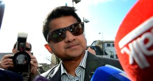 Praveen Halappanavar outside Galway County Hall after the jury in his wife Savita Halappanavar's inquest returned a unanimous verdict of death by medical misadventure. Photograph: PA