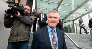 Former Junior Minister and Fianna Fáil TD Ivor Callely leaving court today after appearing in connection with alleged fraud offenses. Photograph:  Collins Courts.