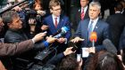 Kosovo's prime minister Hashim Thaci  talks to the media after a meeting with Serbian prime minister Ivica Dacic and European Union foreign policy chief Catherine Ashton in Brussels  today. Photograph: Yves Herman/Reuters