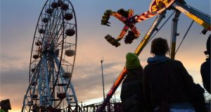 Much of Cassely's Xtreme Funfair's work comes from local festivals, where prestige pieces such as the Ferris wheel do well.  Photograph: Dara Mac Dónaill