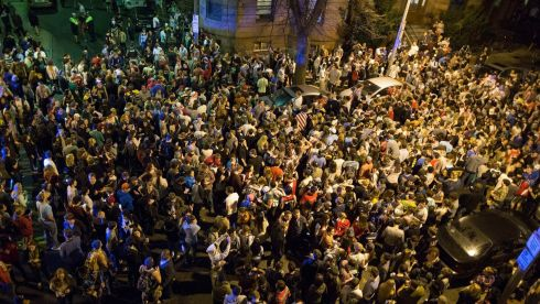 Hundreds of Northeastern University students gather in Hemenway Street to celebrate the capture of suspected Boston Marathon bomber Dzhokhar Tsarnaev. Photograph: Scott Eisen/Reuters