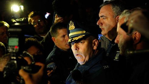 Boston Police Commissioner Edward Davis speaks during a media briefing in the parking lot of the Watertown Mall. Photograph: Jared Wickerham/Getty Images