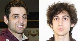 Tamerlan Tsarnaev  (left) and his brother Dzhokhar Tsarnaev. Their mother has insisted they are innocent of the Boston bomb attacks. Photograph: FBI/Handout