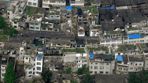Housing left in a state of chaos. Photograph: China Daily/Reuters