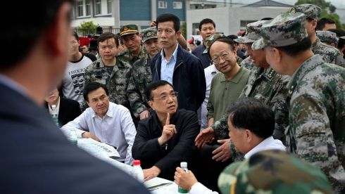 China's Premier Li Keqiang (centre) visits after the earthquake at Lushan county, Ya'an, Sichuan province. The 6.6 magnitude earthquake hit a remote, mostly rural and mountainous area of southwestern China's Sichuan province. Photograph: Reuters