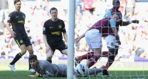 Matt Jarvis of West Ham scores against Wigan Athletic at the Boleyn Ground. Photograph: Ian Walton/Getty Images