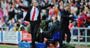 Sunderland manager Paolo Di Canio celebrates the winner at the Stadium of Light. Photograph: Getty Images