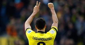 Borussia Dortmund's Robert Lewandowski is likely to be in demand across Europe this summer. Photograph: Ina Fassbender/Reuters