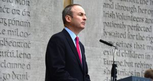 Fianna Fáil leader Micheál Martin asserted today at the party's 1916 commemoration that if people wanted to know where the men and women of 1916 would have stood in later years, they would find out by looking at what they did: taking the route of constitutional republicanism.   Photograph: Cyril Byrne/The Irish Times