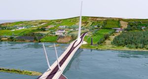 An artist's impression of the 660m Narrow Water bridge, which would span the neck of Carlingford Lough and would link Down and Louth just outside Warrenpoint to the north and Omeath to the south. The bridge could also open to allow boats to access the Newry Canal and the Albert Basin in the city. Photograph: Louth County Council/PA Wire