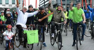 At the start of the Console cycle from Grand Canal Dock today were, from left, restaurateur Peter Caviston, Eamon Coghlan, Pat Kenny and Derry Clarke. Photograph: Cyril Byrne/The Irish Times