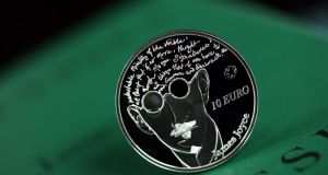"The silver proof James Joyce ""€10"" coins, which were sold for €46, were launched by the Central Bank and feature a portrait of the writer with the first lines from chapter three of Ulysses."