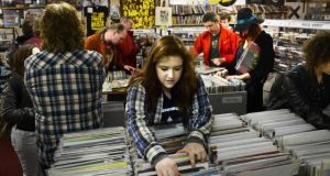 Customers in Freebird Records on Wicklow Street in Dublin hoped to get some of the many limited-edition Record Store Day releases by Irish and international acts. Photograph: Cyril Byrne