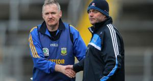 Tipperary manager Eamon O'Shea and Dublin manager Anthony Daly after the game. Photograph: Inpho