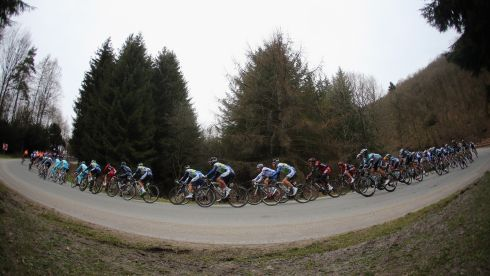 The peloton rides through the Ardenne Forest. Photograph: Lennon/Getty Images