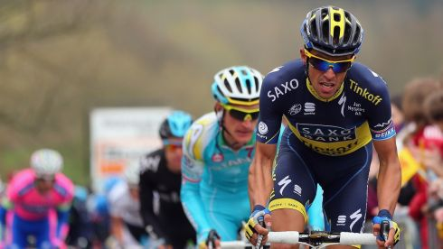 Alberto Contador of Spain and Team Saxo-Tinkoff climbs the Cote de La Redoute. Photograph: Bryn Lennon/Getty Images