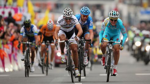 World Road Race Champion Philippe Gilbert sprints for the finish line. Photograph: Bryn Lennon/Getty Images
