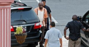 Former Fifa vice-president Jack Warner (far left) resigned as Trinidad and Tobago's national security minister on Sunday  after an emergency cabinet meeting at the private residence of prime minister Kamla Persad-Bissessar. Photograph:   Andrea De Silva/Reuters