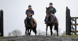 Sprinter Sacre, with Sarah Shreeve up, right, and Long Run, with Helen Green up, during an early morning workout at the Punchestown all-weather area on Monday. Photograph: Stephen McCarthy/Sportsfile