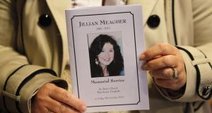 A  mass card displaying a portrait of Jill Meagher during a memorial mass in St Peters Catholic church in Drogheda last October 5. Photograph: Getty